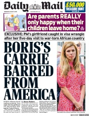 Daily Mail (UK) Newspaper Front Page for 21 August 2019