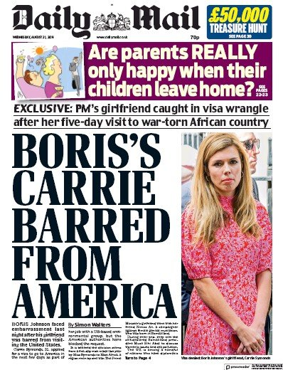 Daily Mail Newspaper Front Page (UK) for 21 August 2019