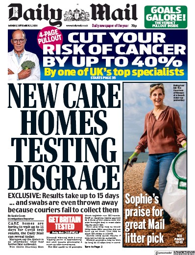 Daily Mail Newspaper Front Page (UK) for 21 September 2020