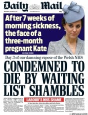 Daily Mail (UK) Newspaper Front Page for 22 October 2014