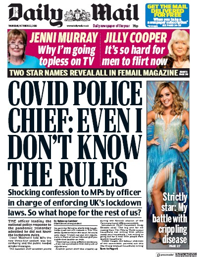 Daily Mail Newspaper Front Page (UK) for 22 October 2020