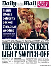Daily Mail (UK) Newspaper Front Page for 22 December 2014