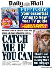 Daily Mail (UK) Newspaper Front Page for 22 December 2018