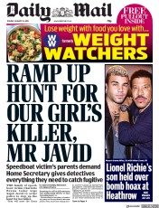 Daily Mail (UK) Newspaper Front Page for 22 January 2019