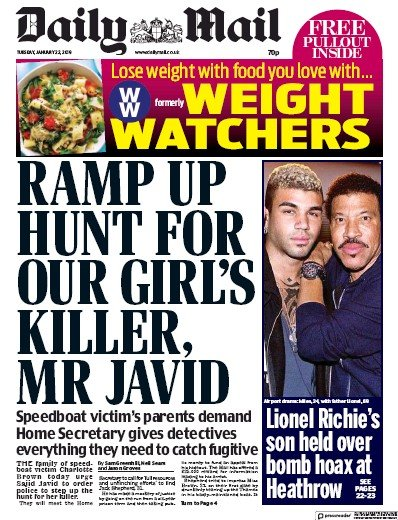 Daily Mail Newspaper Front Page (UK) for 22 January 2019