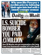 Daily Mail (UK) Newspaper Front Page for 22 February 2017