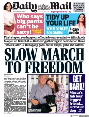 Daily Mail front page for 22 February 2021