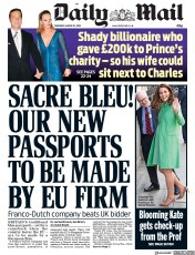 Daily Mail (UK) Newspaper Front Page for 22 March 2018