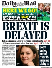 Daily Mail () Newspaper Front Page for 22 March 2019
