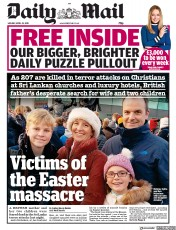 Daily Mail (UK) Newspaper Front Page for 22 April 2019
