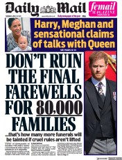 Daily Mail front page for 22 April 2021