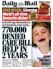Daily Mail () Newspaper Front Page for 22 July 2019