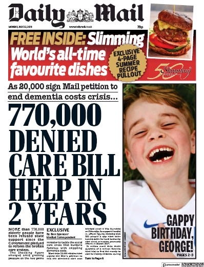 Daily Mail Newspaper Front Page (UK) for 22 July 2019