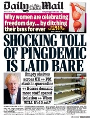 Daily Mail () Newspaper Front Page for 22 July 2021