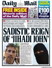 Daily Mail (UK) Newspaper Front Page for 22 August 2014