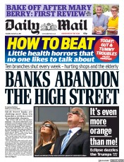 Daily Mail (UK) Newspaper Front Page for 22 August 2017