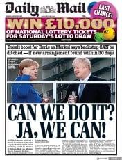 Daily Mail (UK) Newspaper Front Page for 22 August 2019