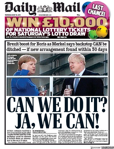 Daily Mail Newspaper Front Page (UK) for 22 August 2019