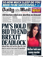 Daily Mail (UK) Newspaper Front Page for 22 September 2017