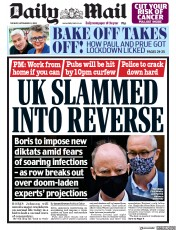 Daily Mail front page for 22 September 2020