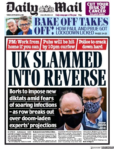 Daily Mail Newspaper Front Page (UK) for 22 September 2020