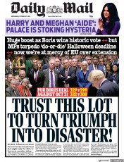 Daily Mail (UK) Newspaper Front Page for 23 October 2019