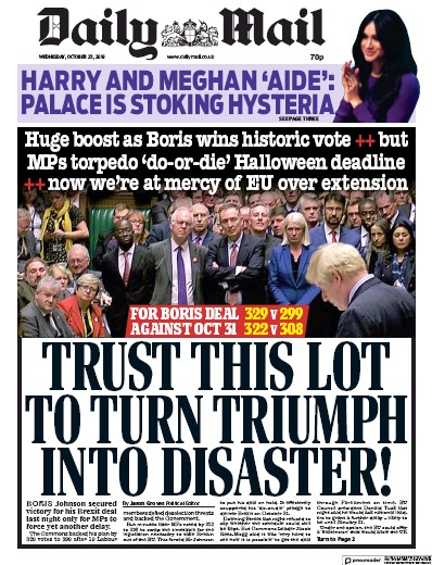 Daily Mail Newspaper Front Page (UK) for 23 October 2019