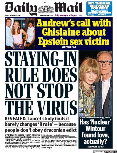 Daily Mail Newspaper Front Page (UK) for 23 October 2020