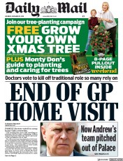 Daily Mail (UK) Newspaper Front Page for 23 November 2019