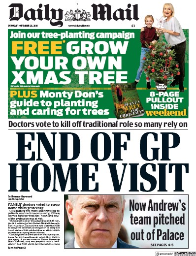 Daily Mail Newspaper Front Page (UK) for 23 November 2019