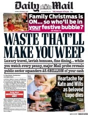Daily Mail front page for 23 November 2020