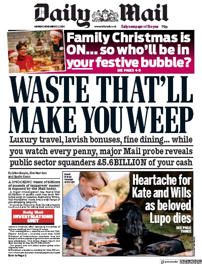 Daily Mail Newspaper Front Page (UK) for 23 November 2020