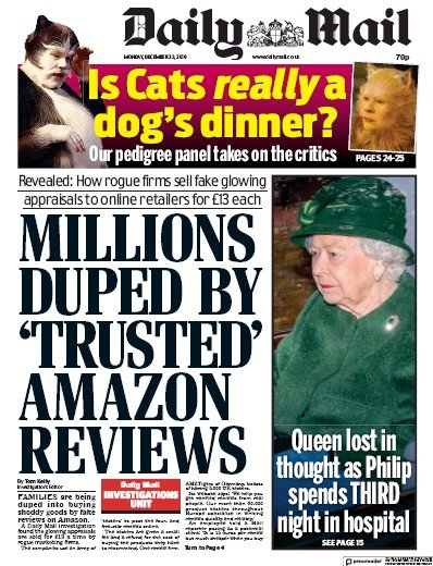 Daily Mail Newspaper Front Page (UK) for 23 December 2019