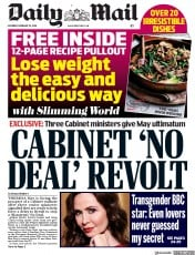 Daily Mail (UK) Newspaper Front Page for 23 February 2019