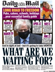 Daily Mail front page for 23 February 2021