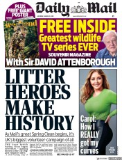 Daily Mail (UK) Newspaper Front Page for 23 March 2019