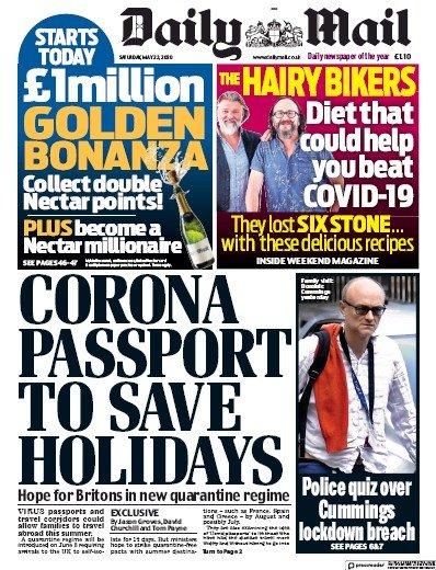Daily Mail Newspaper Front Page (UK) for 23 May 2020