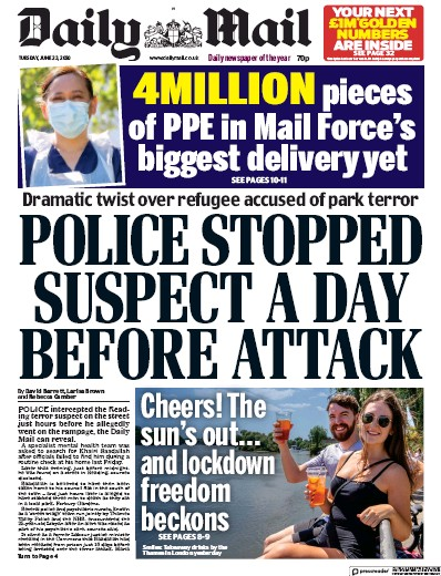 Daily Mail Newspaper Front Page (UK) for 23 June 2020
