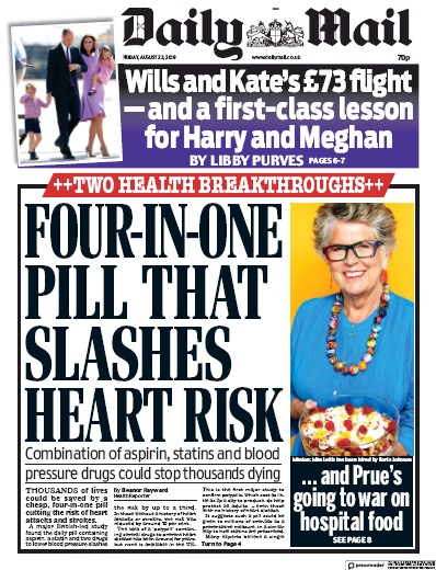 Daily Mail Newspaper Front Page (UK) for 23 August 2019