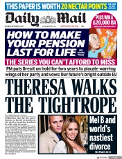 Daily Mail (UK) Newspaper Front Page for 23 September 2017