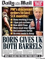 Daily Mail front page for 23 September 2020