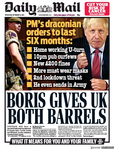 Daily Mail Newspaper Front Page (UK) for 23 September 2020