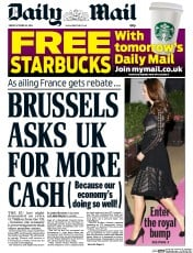 Daily Mail (UK) Newspaper Front Page for 24 October 2014