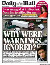 Daily Mail (UK) Newspaper Front Page for 24 October 2019