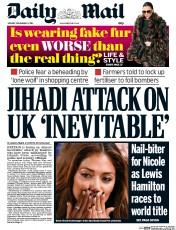 Daily Mail (UK) Newspaper Front Page for 24 November 2014