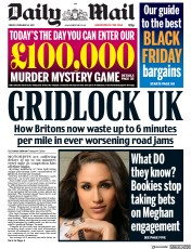 Daily Mail (UK) Newspaper Front Page for 24 November 2017