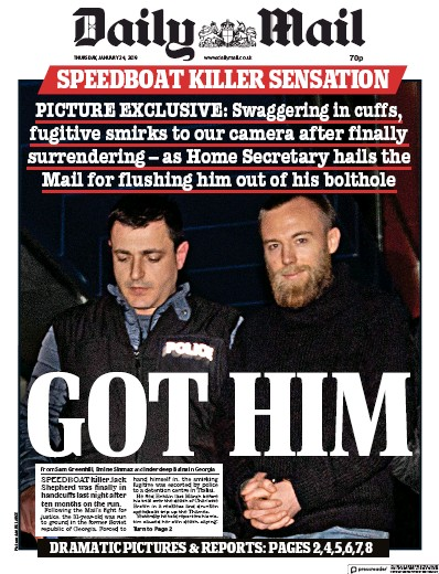 Daily Mail Newspaper Front Page (UK) for 24 January 2019