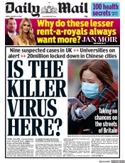 Daily Mail (UK) Newspaper Front Page for 24 January 2020