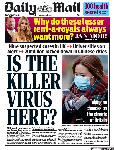 Daily Mail Newspaper Front Page (UK) for 24 January 2020