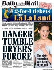 Daily Mail (UK) Newspaper Front Page for 24 February 2017